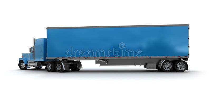 蓝色货箱拖车 皇族释放例证