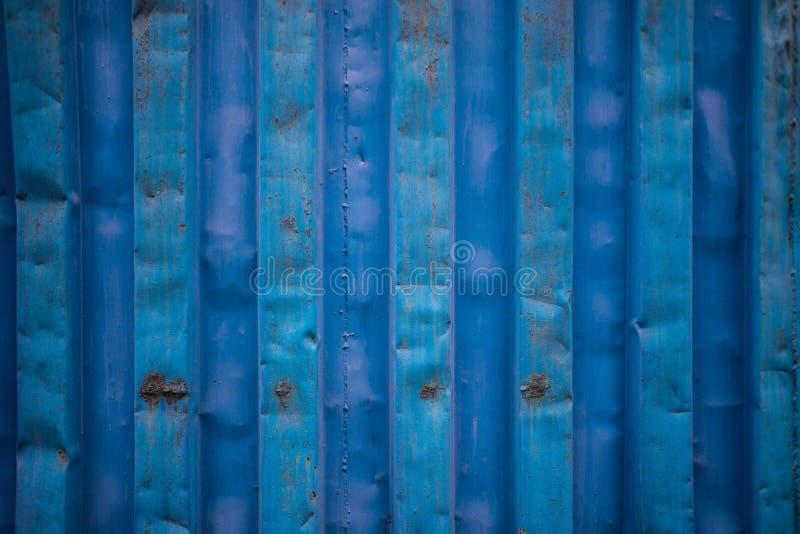 蓝色货船容器纹理关闭没有标签 免版税库存照片