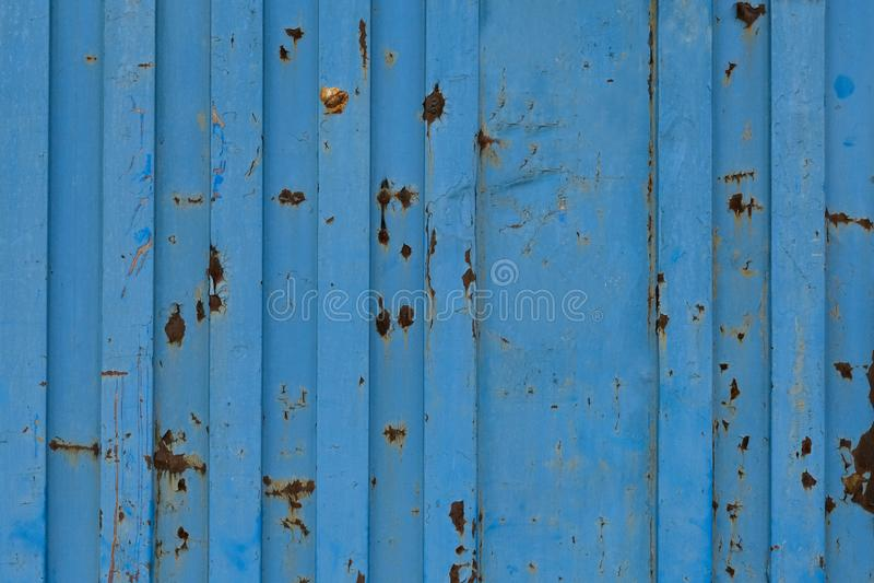 蓝色货船容器纹理 背景重复 老容器的剥落的油漆纹理 库存照片