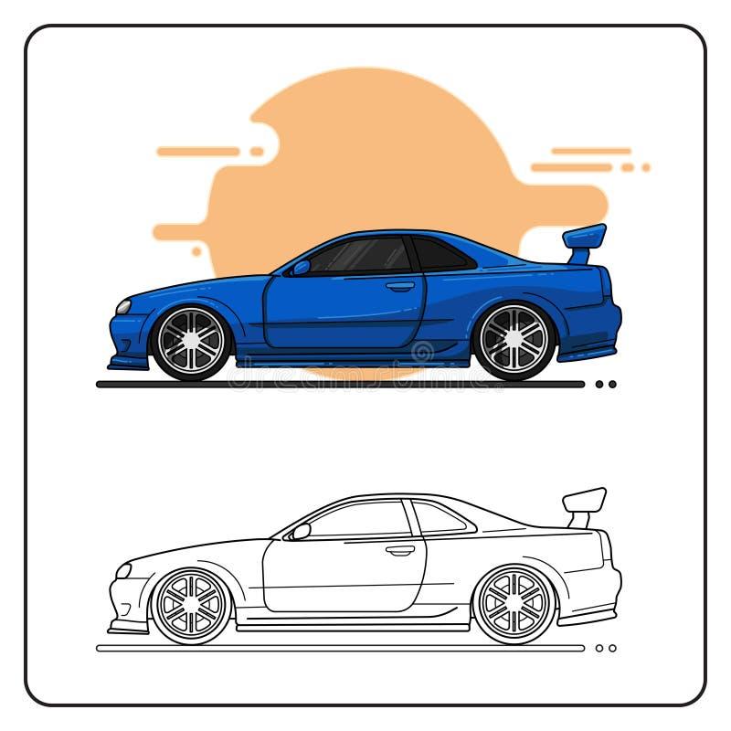 蓝色超级汽车 向量例证