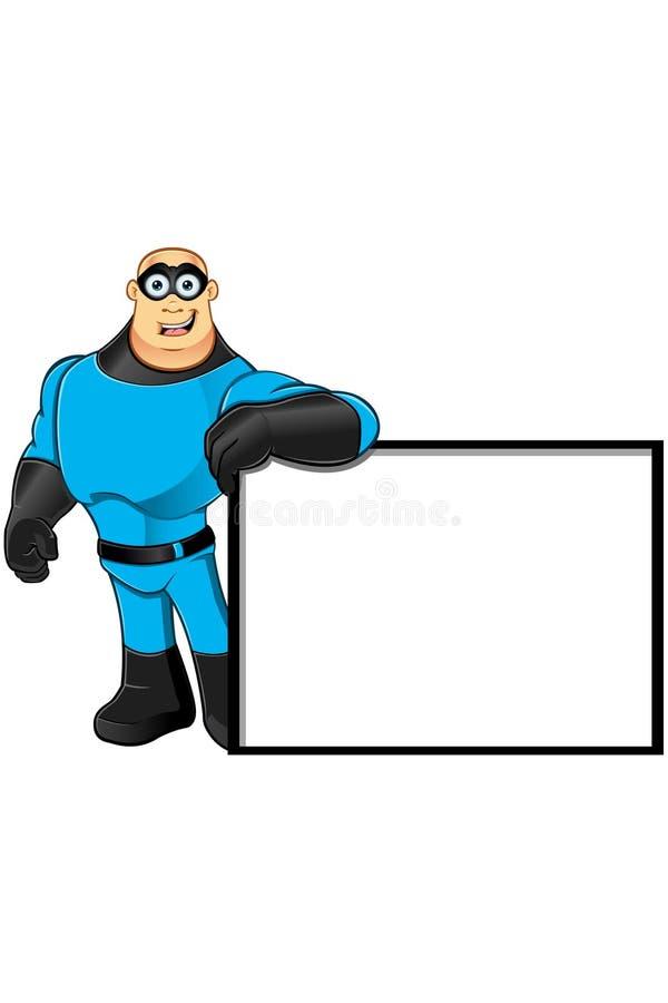 蓝色超级英雄-倾斜在标志 库存例证