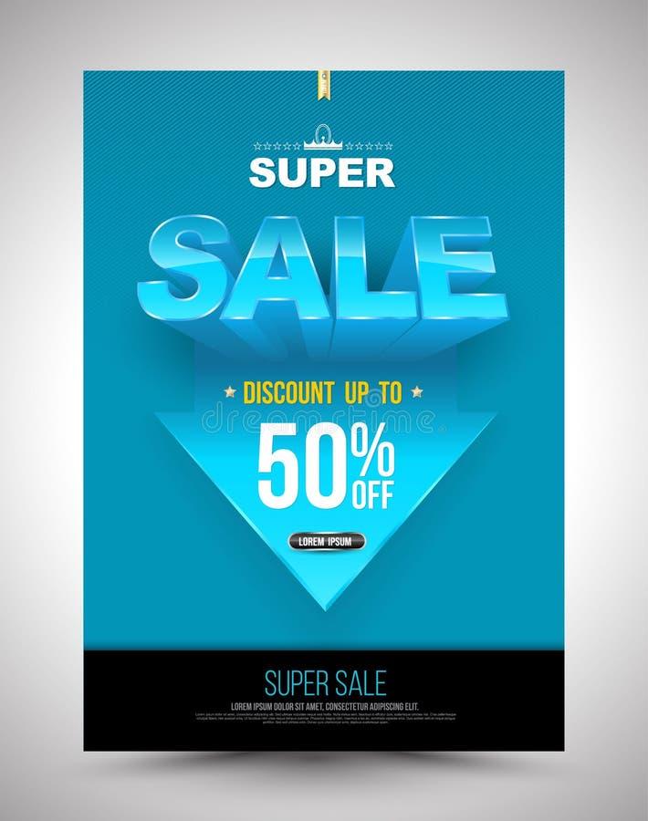 蓝色超级销售海报折扣与箭头的50% 向量例证