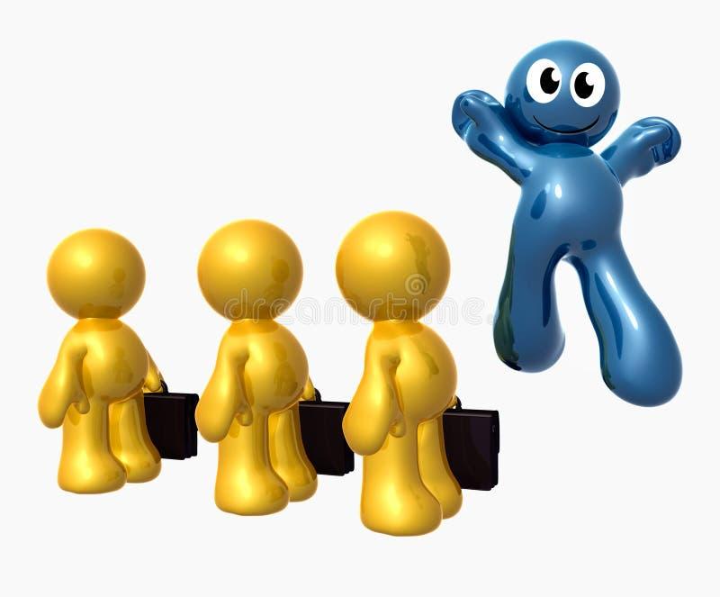 蓝色跳从人群的矮小个滑稽的图标 库存例证