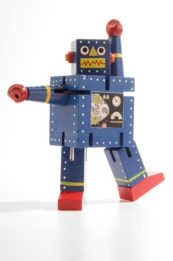 蓝色跳舞机器人 免版税库存照片