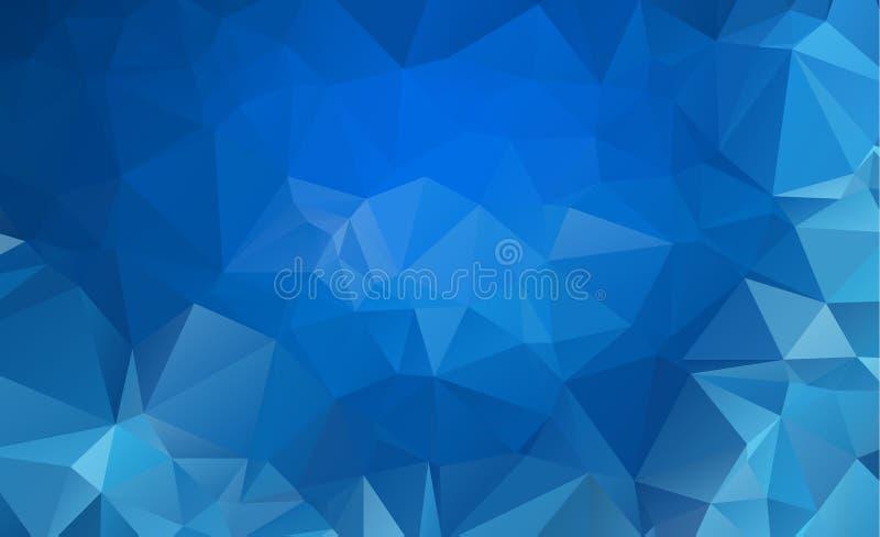蓝色轻的多角形低多角形三角样式背景 皇族释放例证