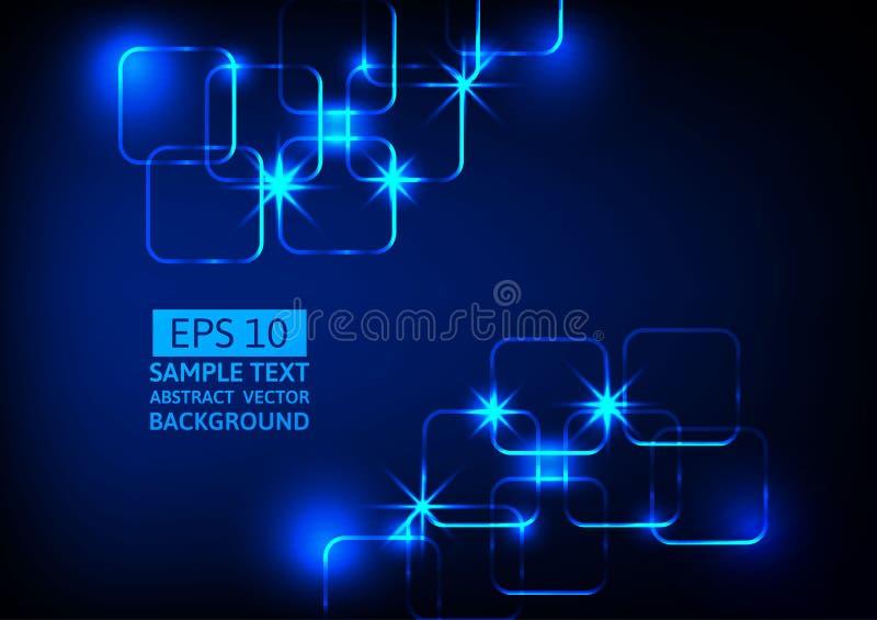 蓝色轻的技术摘要背景,抽象数字式概念 库存例证