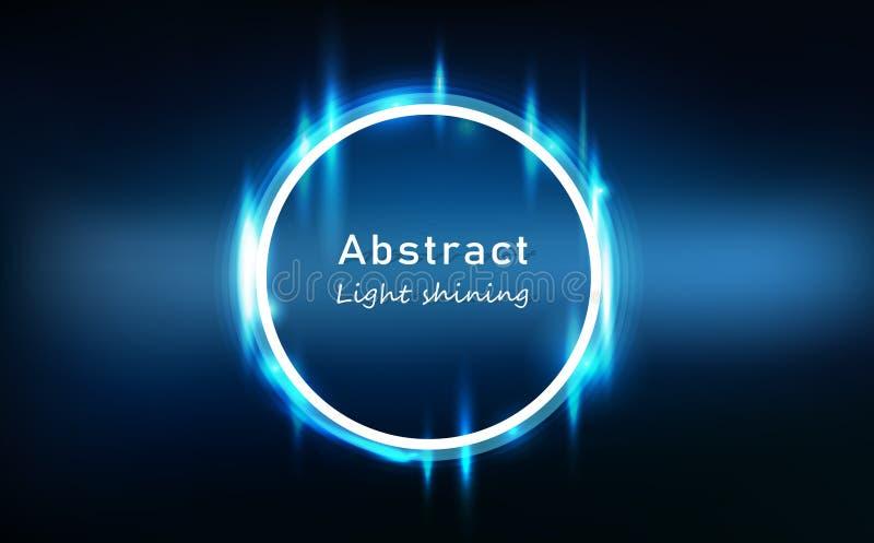 蓝色轻的抽象发光的作用霓虹圈子框架,圆环明亮的光亮的技术背景传染媒介例证 皇族释放例证