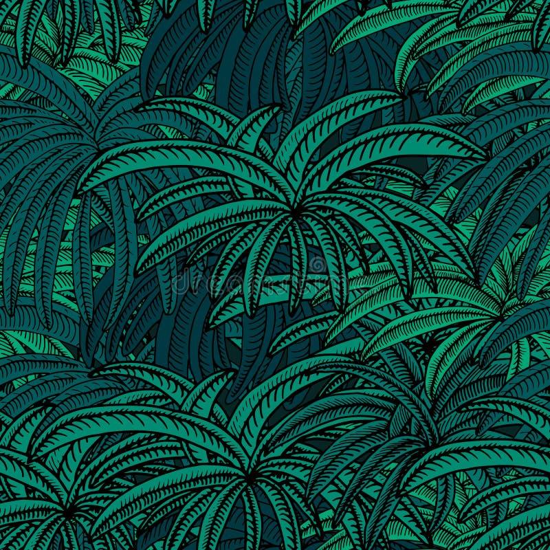 蓝色轻的月光棕榈 向量例证