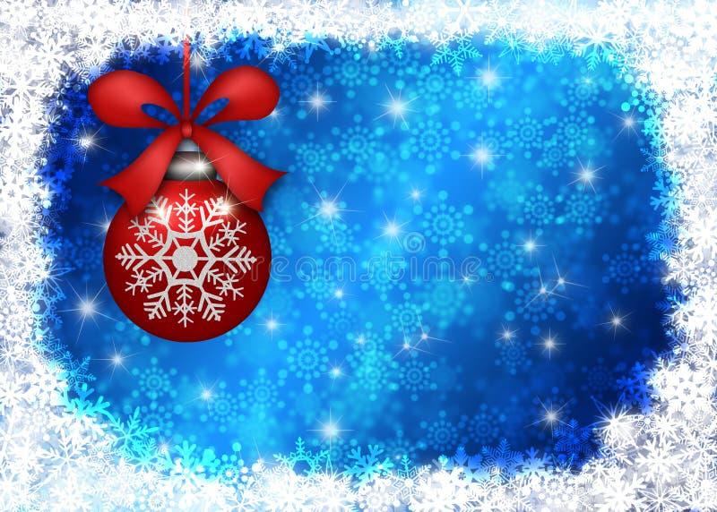 蓝色边界圣诞节停止的装饰品雪花 向量例证