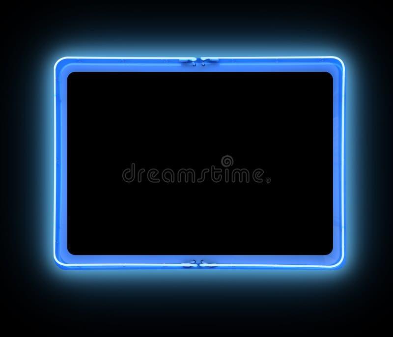 蓝色边界明亮的霓虹灯广告 库存例证