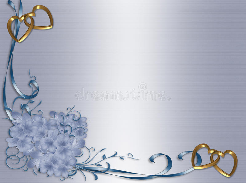 蓝色边界花卉邀请缎婚礼 向量例证