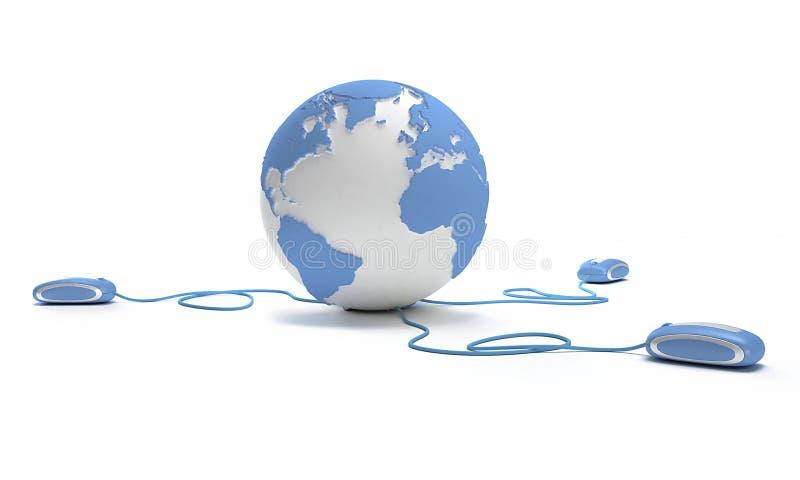 蓝色连接数世界 库存例证