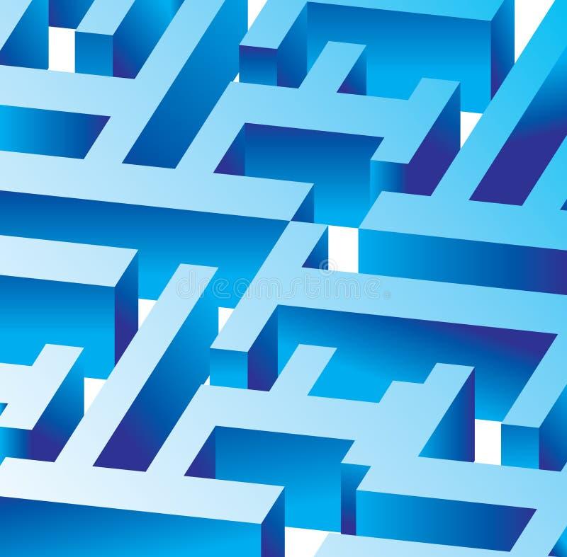 蓝色迷宫向量 库存例证