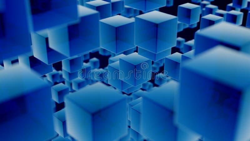 蓝色透亮立方体背景 库存例证