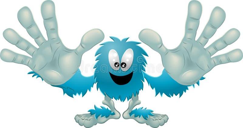 蓝色逗人喜爱的友好毛茸的妖怪 向量例证