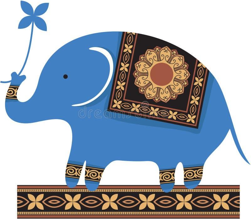 蓝色逗人喜爱的大象 库存例证