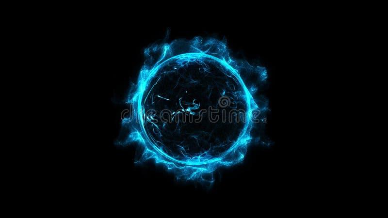 蓝色通报走路的发光的轻的圆环闪闪发光强有力的作用尘末爆炸 皇族释放例证