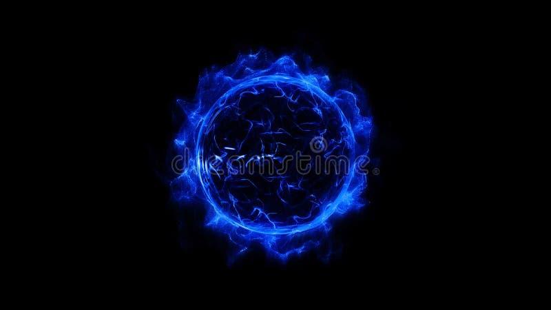 蓝色通报走路的发光的轻的圆环闪闪发光强有力的作用尘末爆炸 向量例证