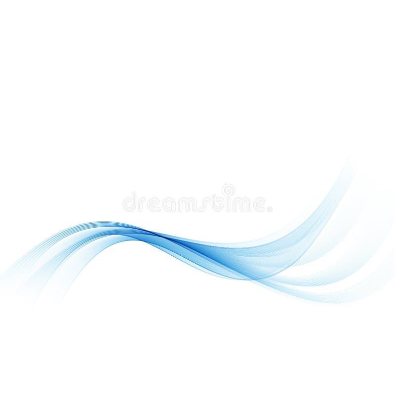 蓝色通知 与蓝色波浪弯曲的线的抽象白色背景 库存例证