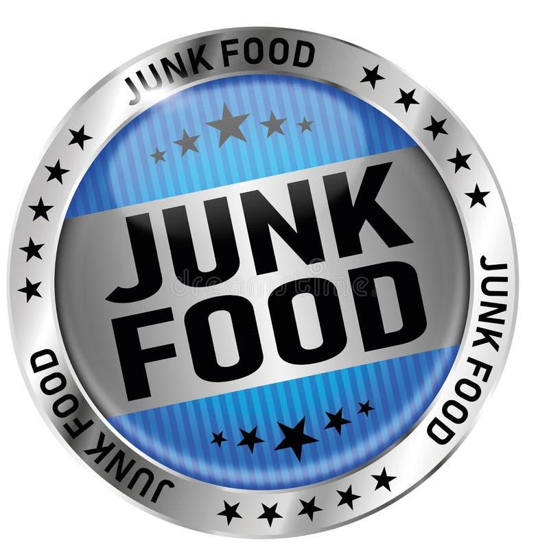 蓝色速食圆的光滑的奖牌象封印徽章 向量例证