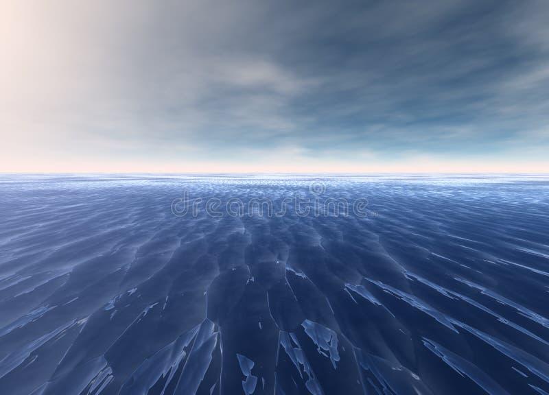 蓝色遥远的海洋海景水 皇族释放例证