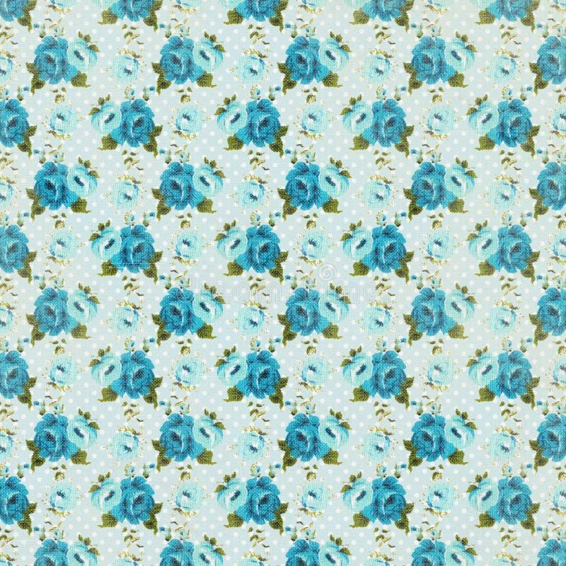 蓝色重复样式的葡萄酒减速火箭的玫瑰花卉背景 免版税库存图片