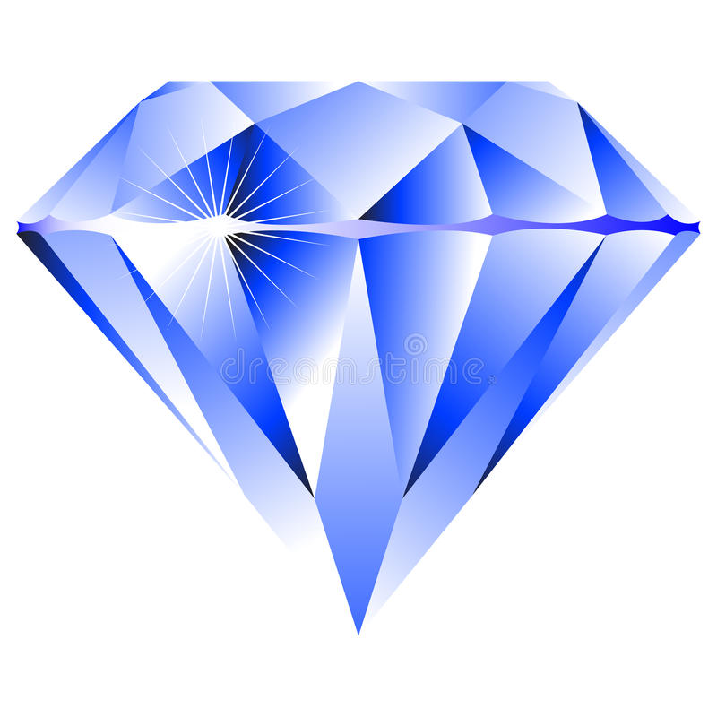 蓝色金刚石查出的白色 向量例证