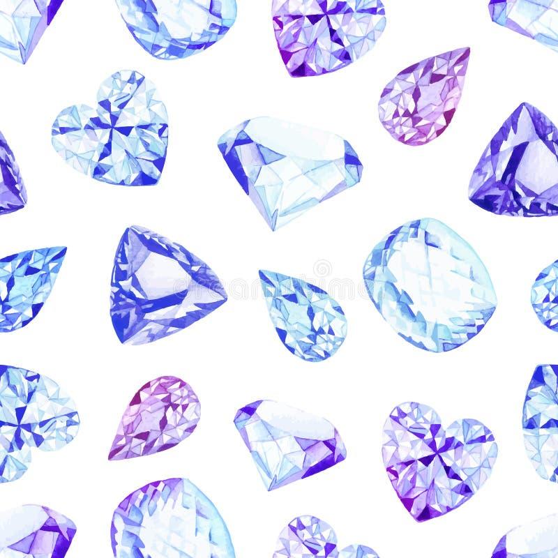 蓝色金刚石水晶水彩无缝的传染媒介样式 向量例证