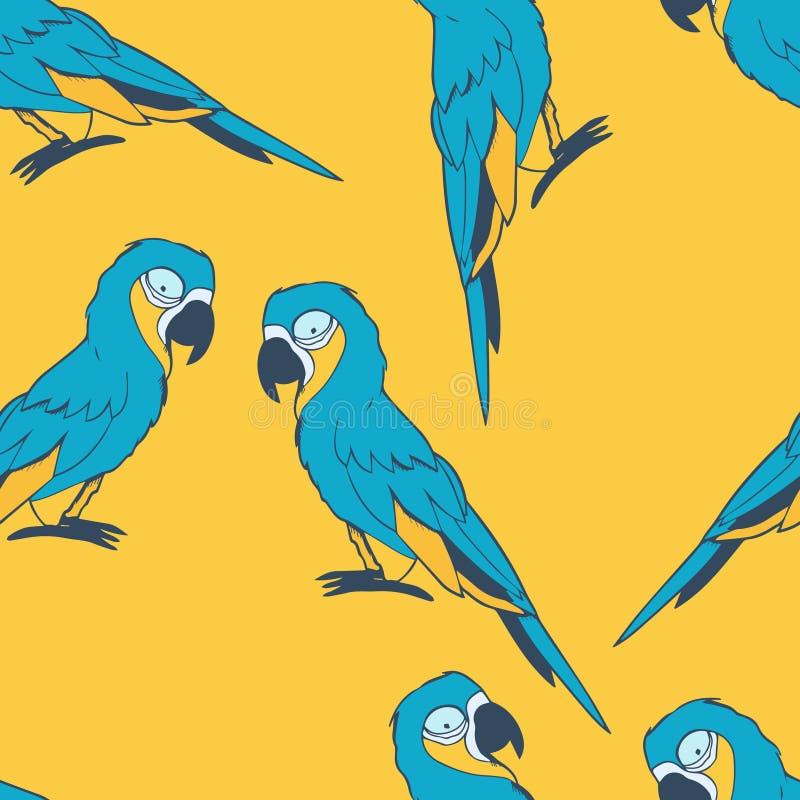 蓝色金刚鹦鹉无缝的样式 库存图片