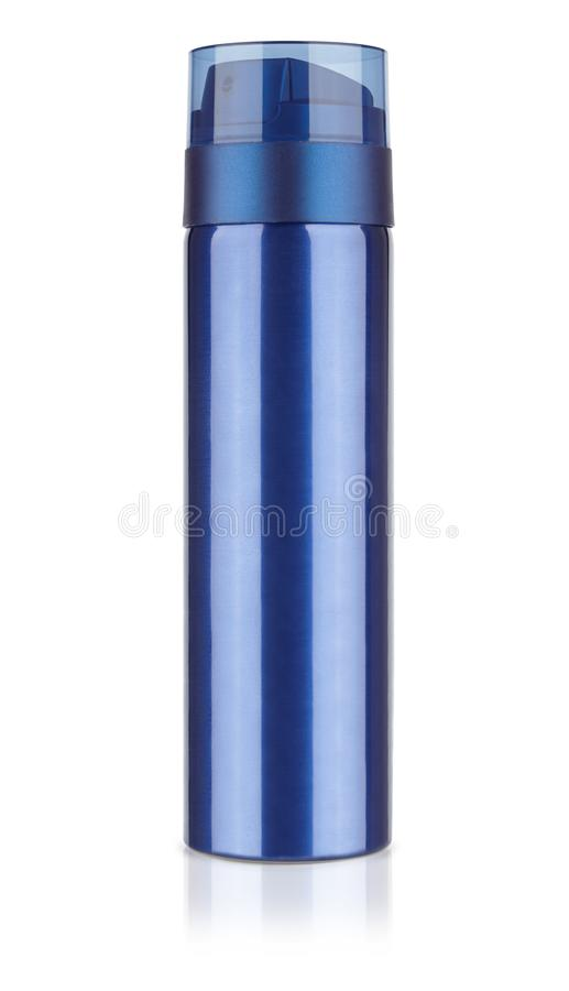 蓝色金属化妆瓶,防臭剂瓶,刮泡沫是 库存图片