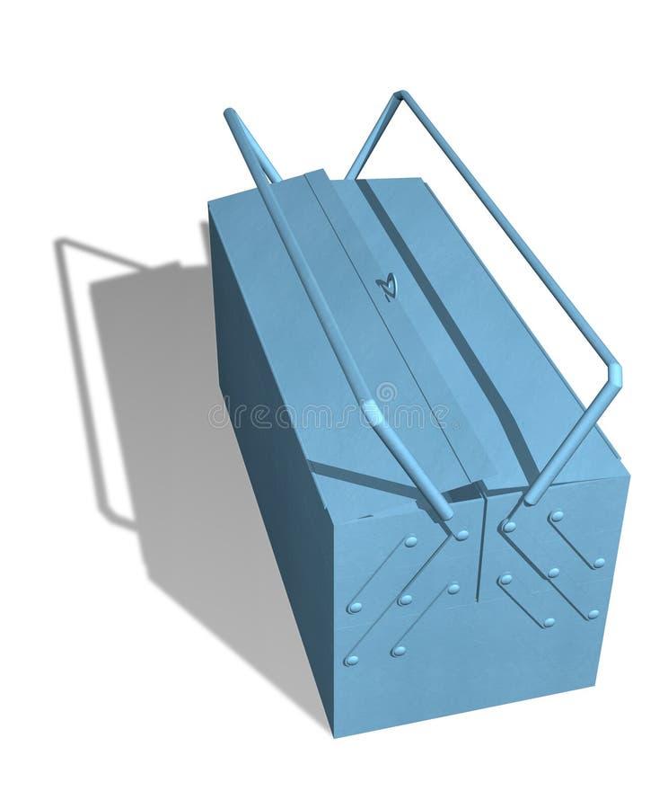 蓝色金属工具箱 皇族释放例证