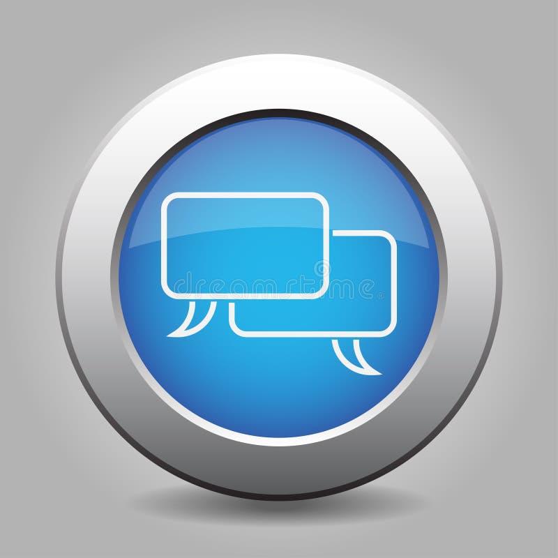 蓝色金属按钮-白色讲话起泡象 库存例证