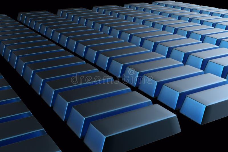 蓝色金属金块3D被堆积的酒吧  向量例证
