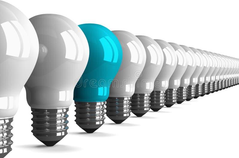 蓝色钨电灯泡和许多白色部分,透视图 向量例证