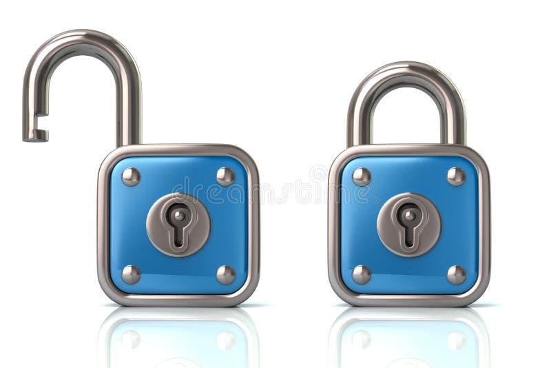 蓝色锁和打开挂锁3d例证 皇族释放例证