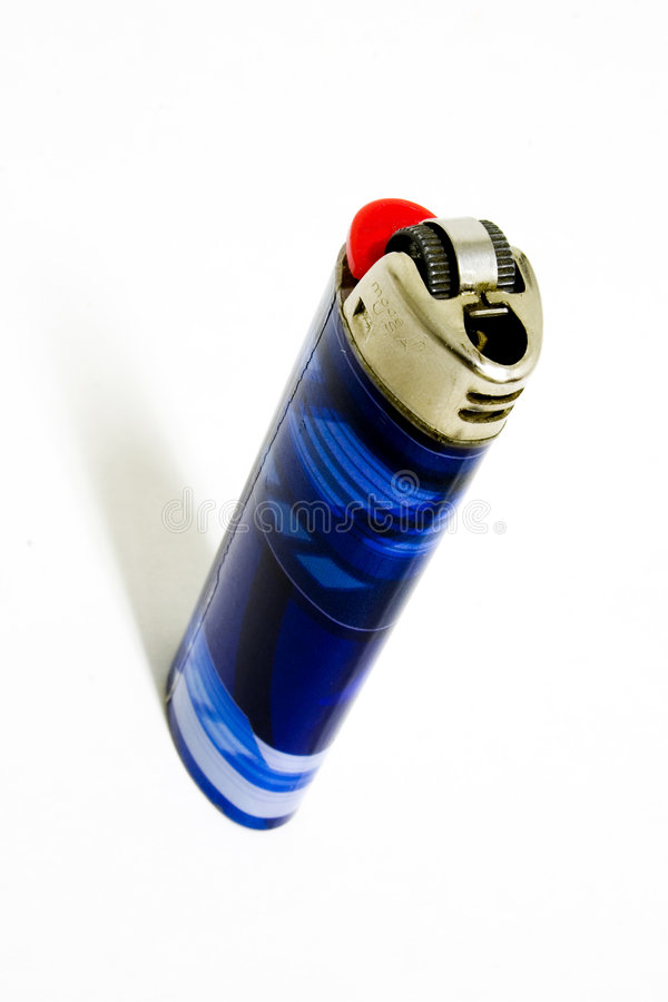 蓝色锋利打火机 免版税库存照片
