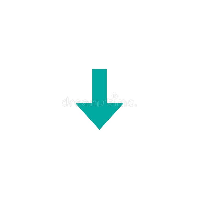 蓝色锋利的下来箭头象 下载标志 查出在白色 皇族释放例证