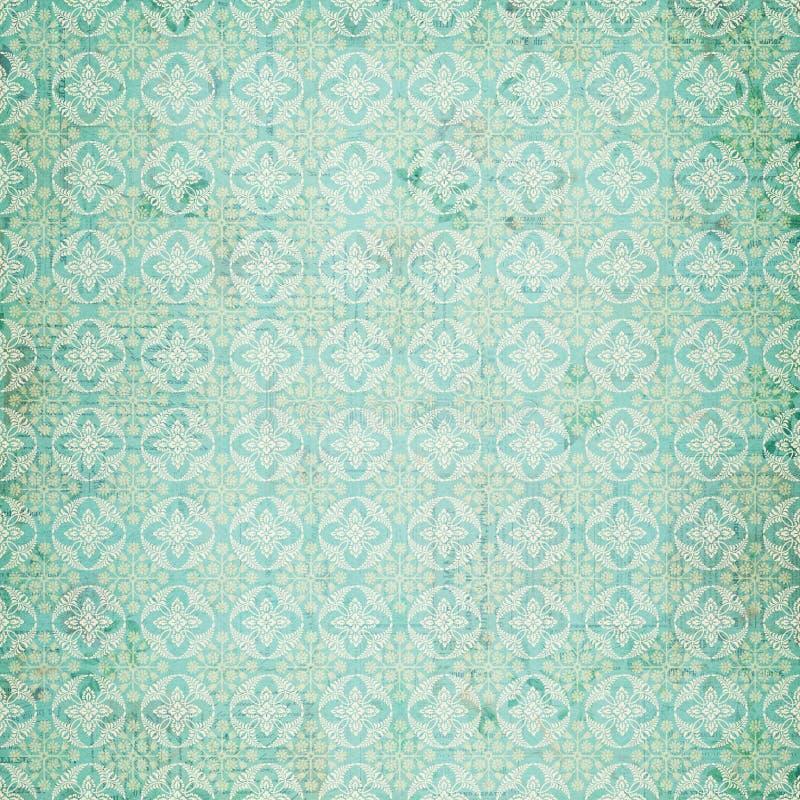 蓝色锦缎模式重复葡萄酒 库存例证