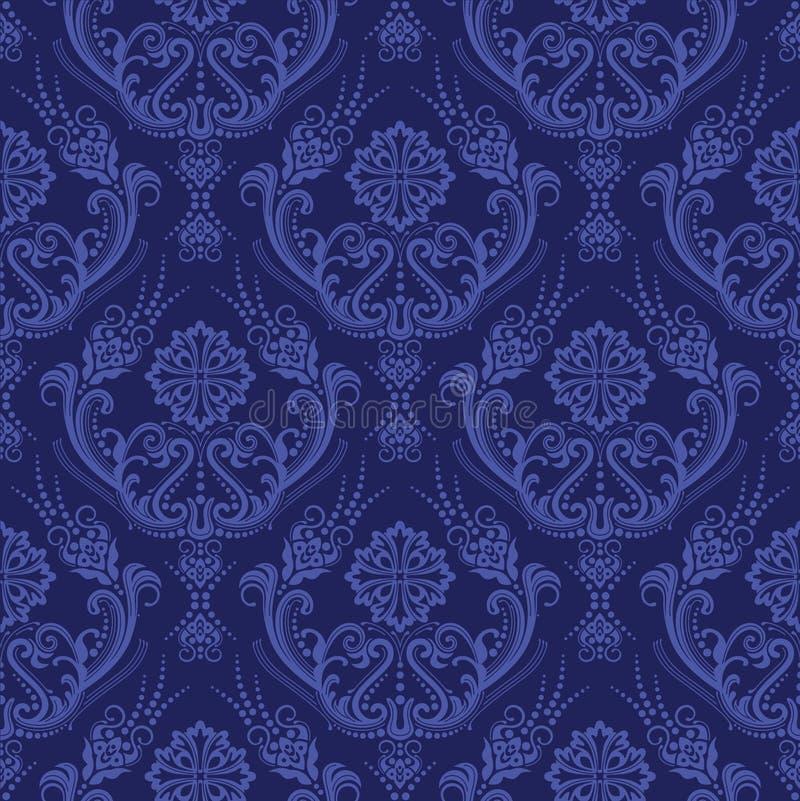 蓝色锦缎花卉豪华墙纸 向量例证