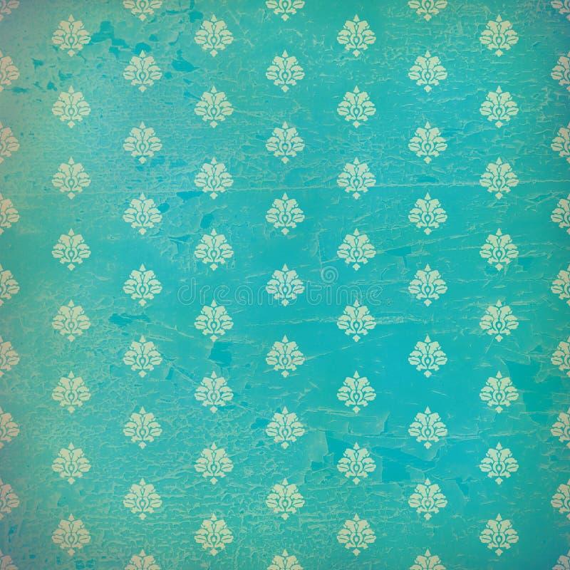 蓝色锦缎grunge墙纸 免版税库存图片
