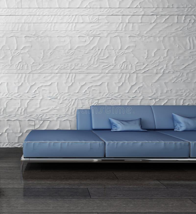 蓝色长沙发对石墙 皇族释放例证
