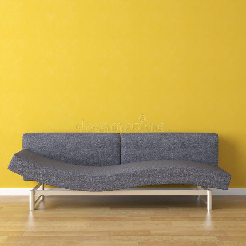 蓝色长沙发设计内部 免版税库存照片