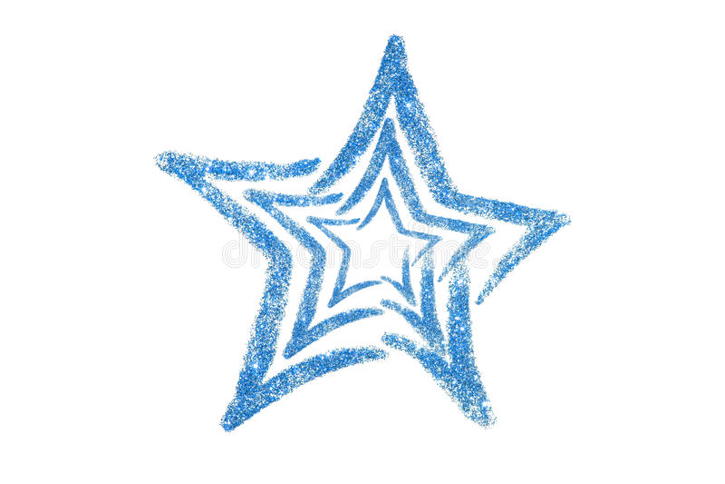 蓝色闪烁星形 衣服饰物之小金属片 金黄亮光 粉末 闪烁 光亮的标志 库存照片