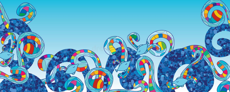 蓝色闪烁漩涡鱼五颜六色的横幅 向量例证