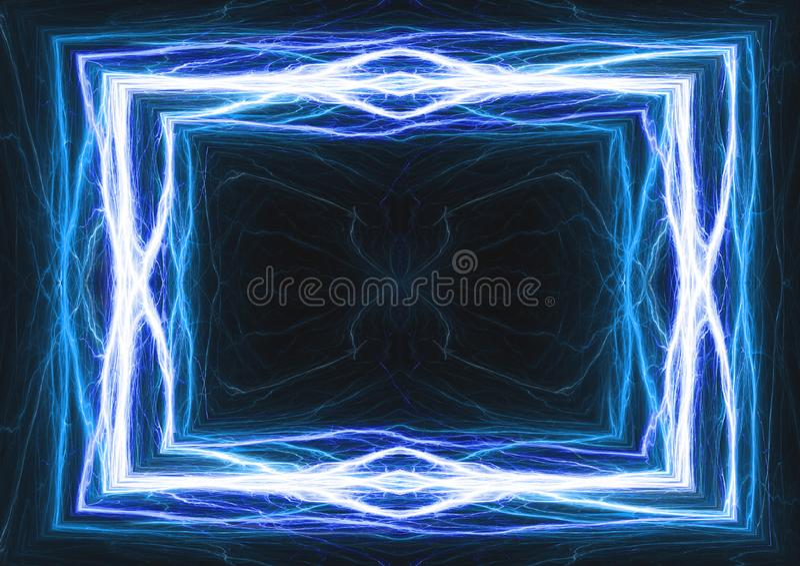 蓝色闪电和电子框架 向量例证