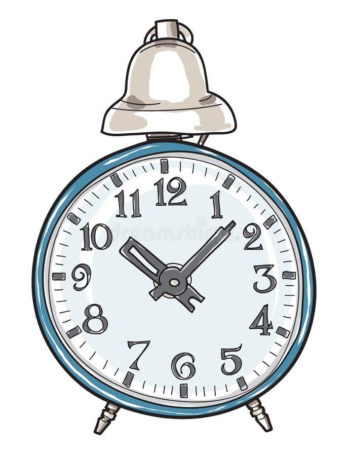 蓝色闹钟减速火箭的手拉的逗人喜爱的艺术传染媒介例证 向量例证