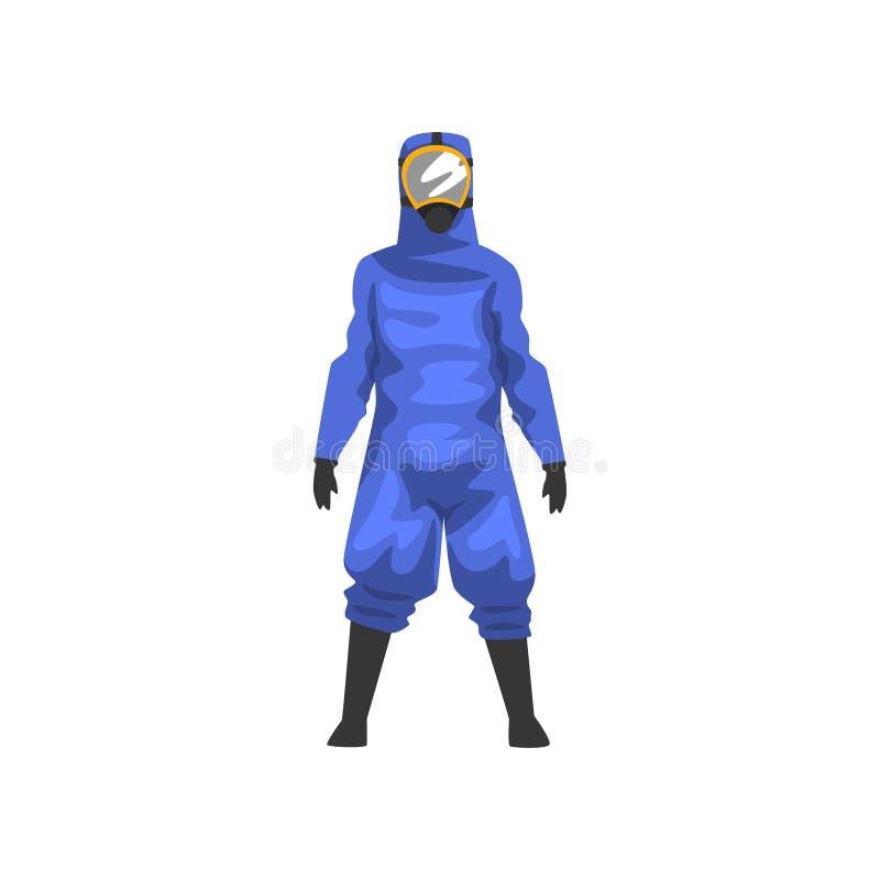 蓝色防护套服和盔甲的,专业安全一致的传染媒介例证人 库存例证
