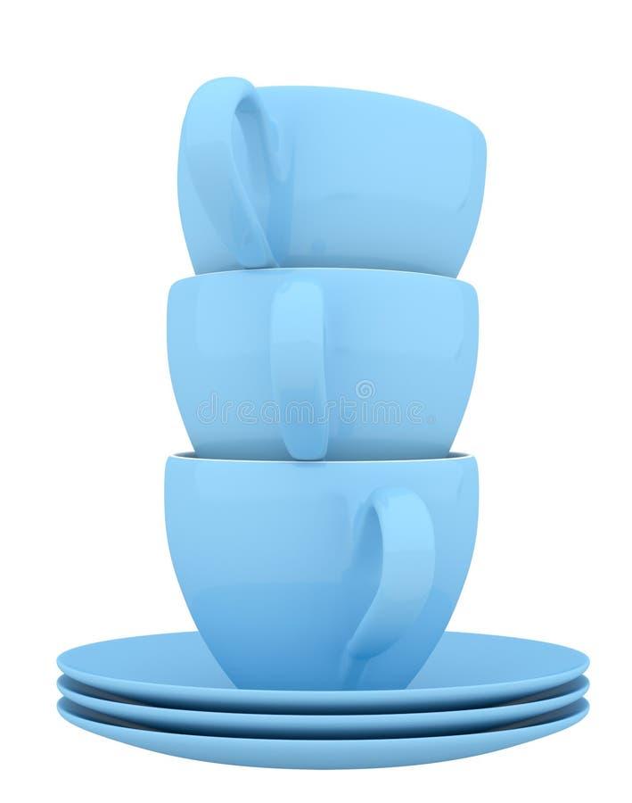 蓝色陶器和杯子 库存例证