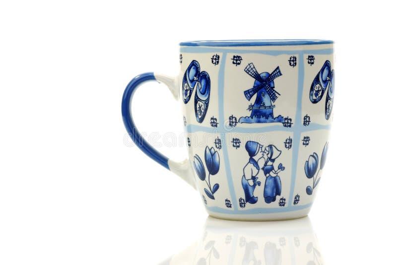 蓝色陶瓷传统咖啡德尔福特荷兰语的&# 库存照片