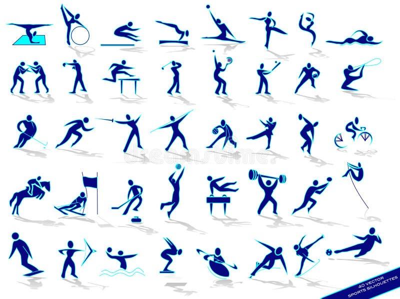 蓝色集合剪影体育运动 库存例证